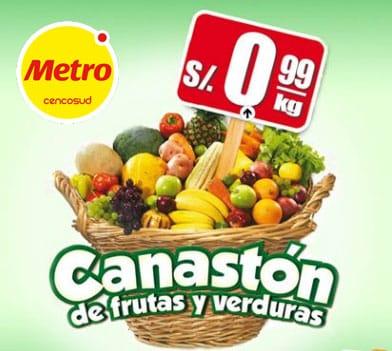 Canastón de frutas y verduras en metro