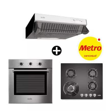 Combo de cocina a gas, campana extractora y horno eléctrico en tiendas metro peru